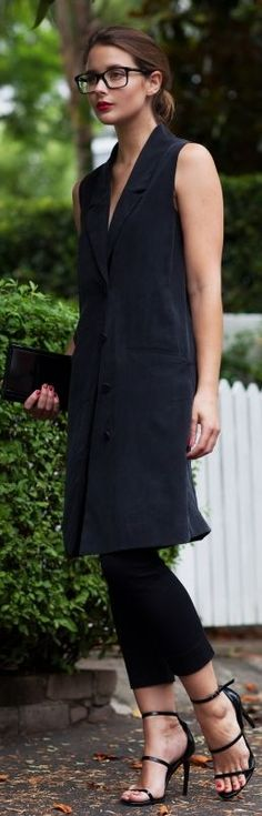 Black Long Vest                                                                             Source
