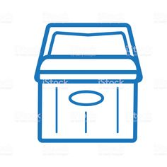 Summer ice drink cooler outline line art flat icons - Royalty-free Blue stock vector