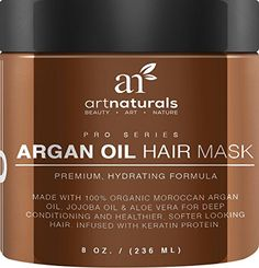 nice Art Naturals Argan Oil Hair Mask, Deep Conditioner 8 Oz, 100% Organic Jojoba Oil, Aloe Vera & Keratin, Repair Dry, Damaged Or Color Treated Hair After Shampoo, Best For All Hair Types - Sulfate Free