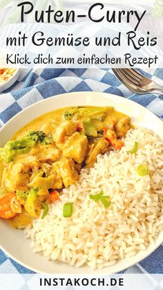 Puten-Curry mit Brokkoli, Mandeln und Reis – Klick dich jetzt zum leckeren Rezept My simple recipe for turkey curry with broccoli, almonds and rice is a great dish that every rice lover will like. Turkey curry is stress free, quick,… Continue Reading → Healthy Meal Prep, Healthy Snacks, Healthy Recipes, Dinner Healthy, Healthy Weight, Turkey Recipes, Chicken Recipes, Turkey Curry, Rice Recipes For Dinner
