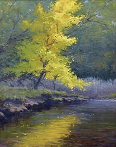 "Placing Her Leaves Upon The Water 30x24"" Oil Scott Ruthven - Oil"