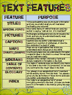 Printables Expository Text Features text features poster ri 1 5 2 3 names the ojays poster