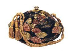 Judith Leiber Embroidered Silk & Swarovski Fan Evening Bag