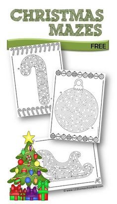 FREE Christmas Mazes - included in these Christmas printables are 8 different holiday themed mazes kids will have making. This is perfect for Christmas parties, Christmas centers, fun Christmas worksheets or over Christmas break for elementary age kids.