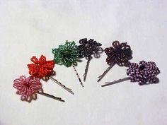 seed bead hair clips :) so cute