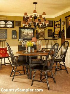 Eat in kitchen. Windsor chairs. Black.