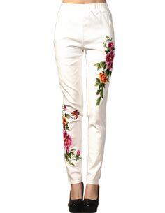 Embroidery Slim Leggings Casual Long Pants