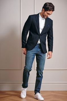 Buy Navy Textured Slim Fit Jacket