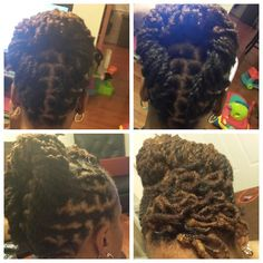 2 strain twist loc updo with a petaled bang