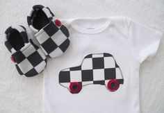 Race Car Onesie with Matching Crib Shoes / Baby Boy by vpettet, $22.50