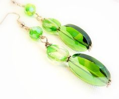 Women's earrings beaded emerald green super by SevenGypsiesJewelry, $12.95
