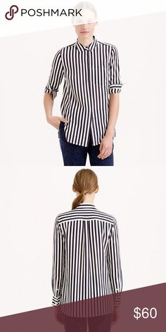 J. Crew classic silk shirt in stripe New with tags. The one everyone needs in their closet—it's sleek and drapey with a slightly longer length and a stripe borrowed from the guys.  Silk. Long sleeves. Functional buttons at cuffs. Chest pocket. Dry clean. J. Crew Tops Button Down Shirts
