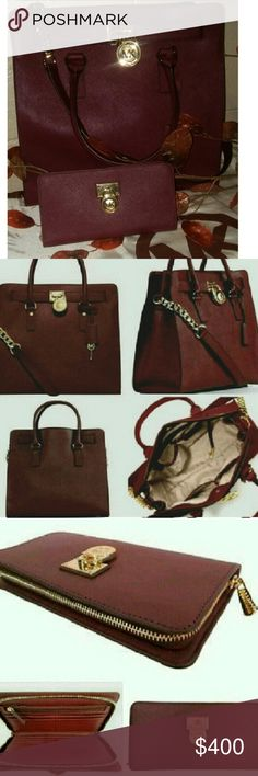 MICHAEL KORS MERLOT SAFFIANO LEATHER HAMILTON SET ABSOLUTELY STUNNING HAMILTON SET IN MERLOT NEW WITH TAG STILL ATTACHED EXCELLENT CONDITION SEE FULL DESCRIPTION AND MEASUREMENTS ABOVE Michael Kors Bags Shoulder Bags