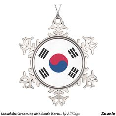 Shop Snowflake Ornament with South Korea Flag created by AllFlags. Snowflake Ornaments, Ball Ornaments, Snowflakes, Christmas Ornaments, Christmas Ideas, South Korea Flag, Korean Flag, Elegant Christmas Trees, Colors