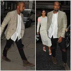 Kanye West wears Haider Ackermann Diamond Jacquard Print Blazer For Dinner in London | UpscaleHype