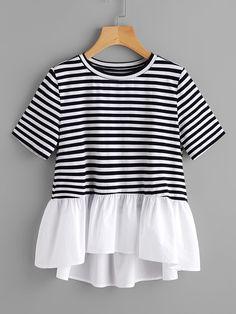 Tee-shirt découpé contrasté à rayures avec des plis -French SheIn(Sheinside)