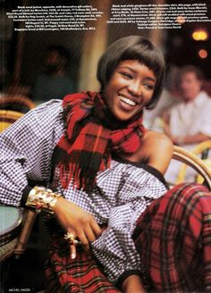 """#vintage """"The Glam Clan"""" Naomi Campbell in Isaac Mizrahi photographed by Michel Haddi for #Vogue UK November 1989"""