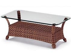 rattan coffee table glass top - Rattan Coffee Table