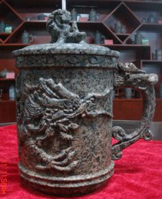 Chinese Medical Stone Mug Handmade Coffee Cup Dragon Carve Tea Cups