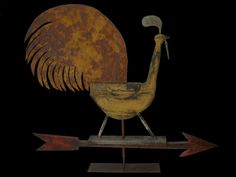 Steve Hazlett, American Folkcraft :: Rooster On Arrow Weathervane :: Weathervanes Art Through The Ages, Outsider Art, Bird Art, Metal Art, Art Lessons, Sculpture Art, Chickens And Roosters, Folk Art, Illustration Art