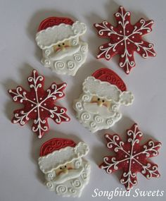 Santa and snowflake cookies