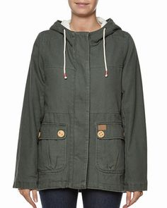 TWO SEASONS - LADIES - JACKETS - CASUAL - VICTORIA PARKA JACKET BY BILLABONG IN OLIVE