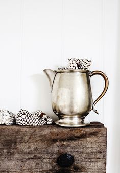 {Vintage Silver Jug} photographed and styled by ©Kara Rosenlund Cosy Aesthetic, Natural Wood Decor, Kara Rosenlund, Beautiful Farm, Home On The Range, My Cup Of Tea, Vintage Silver, Antique Silver, Rustic Elegance