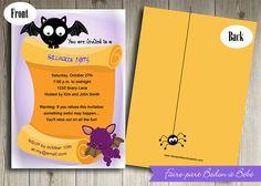 Invitation Fête d'Halloween personnalisée - Digital imprimable by FairePartBedonaBebe on Etsy
