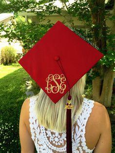 3 Glitter Monogram for Graduation Cap by SunshineVinyl on Etsy