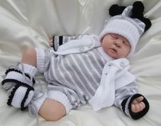 KNITTING PATTERN TO MAKE CHESTER BABY / REBORN DOLL 4 PIECE ROMPER SET | eBay