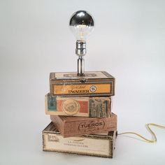 Juxtaposed cigar box lamp by Pip & Estella