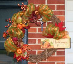 Welcome Fall Wreath Fall Wreath Thanksgiving Pumpkin by hgab129, $60.00
