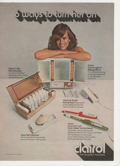1974 Clairol Hair Appliances 6 Ways to Turn Her On by fromjanet, $5.00 - I had the Skin Machine face brush, the Crazy Curl curling iron with steam and the makeup mirror!