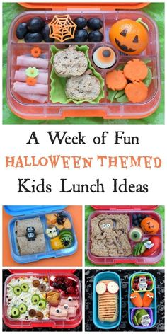 A whole weeks worth of fun and healthy Halloween bento lunch ideas for kids from Eats Amazing UK