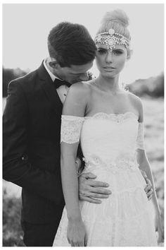Breathtaking boho wedding dress and gorgeous head piece!