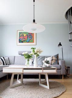 Sval Sjø på vegg Entryway Bench, Color Schemes, Lounge, Retro, Living Rooms, Furniture, Walls, Colour, Home Decor