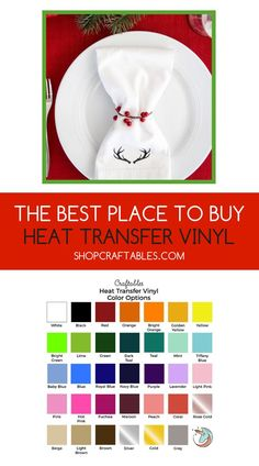 Craftables colored iron-on vinyl is consistently sized for reliable craft cutting. Choose from our many colors and finishes of heat transfer vinyl sheets online! Diy Craft Projects, Project Ideas, Diy Crafts, Silhouette Projects, Silhouette Cameo, Iron On Vinyl Sheets, Cheap Heat Transfer Vinyl, Vinyl On Glass, Holiday Tablescape