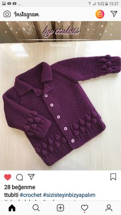 Crochet Bebe Crochet Yarn Crochet Girls Knitting Patterns Free Hand Knitting Knitting For Kids Woolen Dresses Baby Vest Sewing Basics Knitted Baby Cardigan, Knit Baby Sweaters, Baby Pullover, Crochet Girls, Crochet Baby, Knit Crochet, Easy Knitting Patterns, Knitting Designs, Baby Knitting