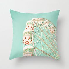 SALE Pillow Cover Mint Pillow Ferris Wheel Pillow Amusement Park Pillow Turquoise Pillow Vintage Pillow Decoration 18 x 18. $34.00, via Etsy.
