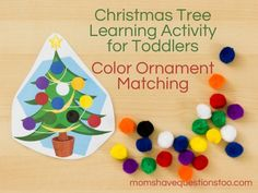 Christmas tree color matching with free printable (scroll down in post for this activity)