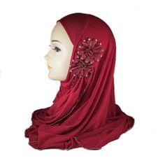 Hijab met bloem rood