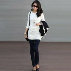 $5.38 Fashion and Mix-Matched Scoop Neck Rhinestone Embellished Slimming Hip Design Long Sleeve Women's T-Shirt/Dress