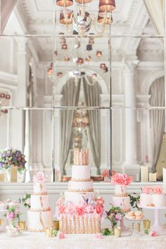 Luxury Wedding Inspiration From The Corinthia Hotel in London. Pink and gold wedding cake and favours by Elizabeth's Cake Emporium. Image by Roberta Facchini.- ROCK MY WEDDING   UK WEDDING BLOG