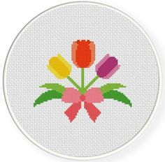 Tulips in Ribbon PDF Cross Stitch Pattern by DailyCrossStitch