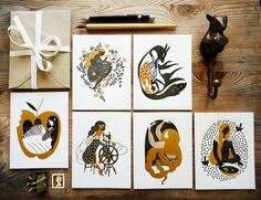 Beautiful metallic fairy tale cards by Karolin Schnoor on Etsy. I want these all framed and on my wall tomorrow, thank you.