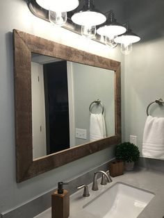 Renewed Décor Shiplap Reclaimed Wood Mirror in 20 stain colors - Large Wall Mirror - Rustic Modern Home - Home Decor - Mirror - Housewares - Woodwork - Frame - Stained Mirror - Shiplap Reclaimed Wood Framed Mirror Large Bathroom Mirrors, Rustic Mirrors, Rustic Bathroom Decor, Home Decor Mirrors, Bathroom Styling, Small Bathroom, Bathroom Ideas, Bathroom Mirror Makeover, Decorative Mirrors