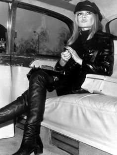Bridget Bardot: Head to toe black leather! Trend-right then, trend-right now!
