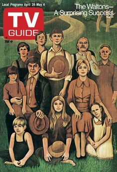 TV Guide April 28, 1973 - The cast of The Waltons. Illustration by Paul Davis .