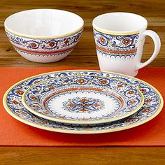 I've sold virtually all of my dinnerware in yardsales this year...this is the set I want to replace it with. It's at World Market Cost Plus. I have a set of cobalt blue salad bowls and coffee mugs to compliment it from Pier One circa 1996.