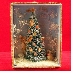 "Vintage Shadowbox Xmas Winter Wonderland Animals Flocked Tree Decoration 6.5""x5"" | Home & Garden, Home Décor, Shadow Boxes | eBay!"